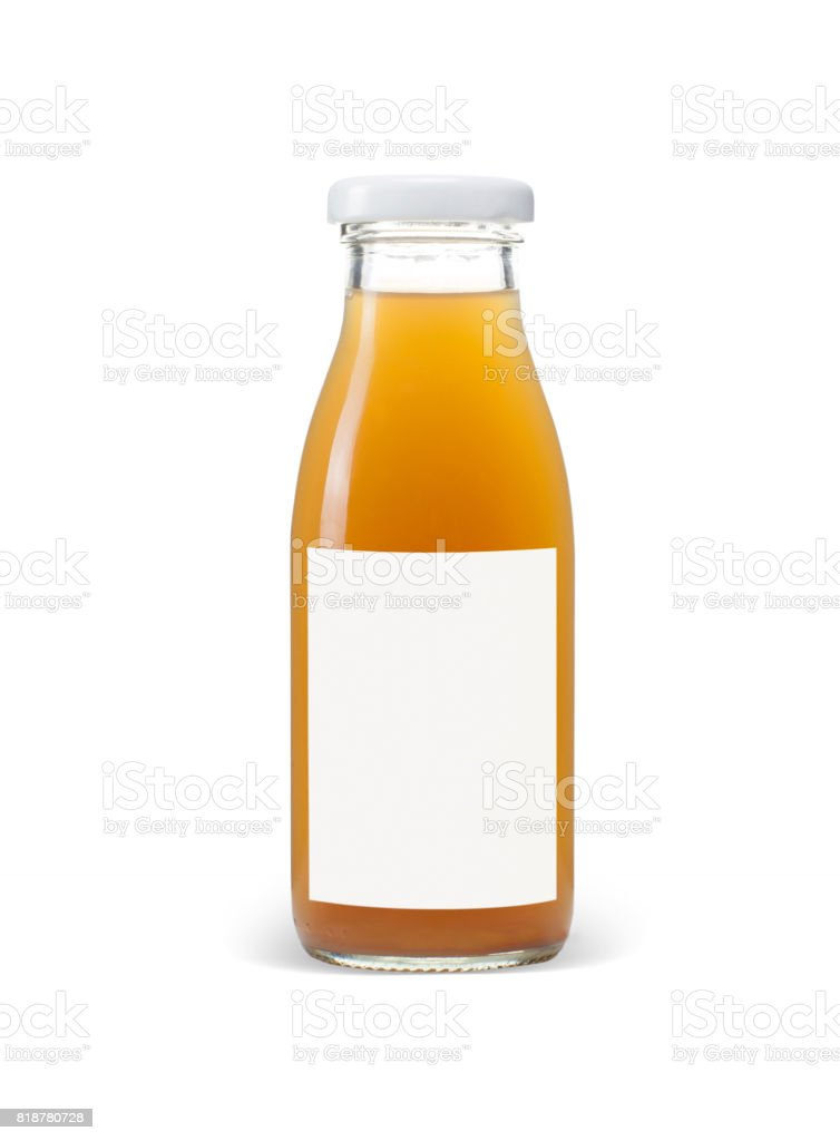 bottle of apple juice with blank blue label isolated on white stock photo