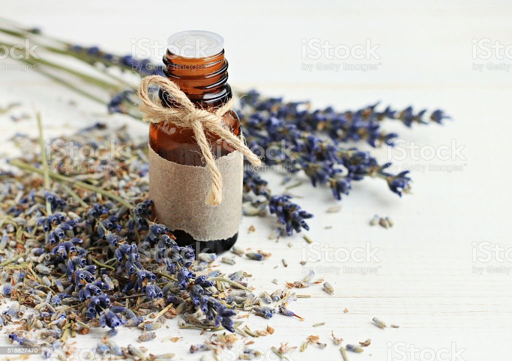 Bottle of aroma lavender oil stock photo