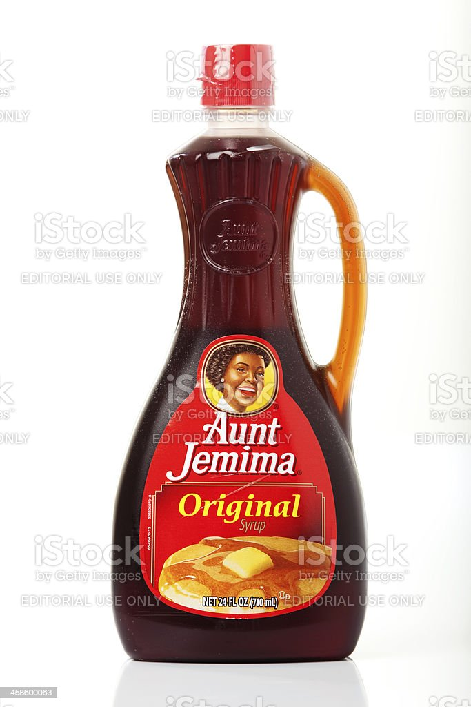 Bottle of Aunt Jemima Syrup stock photo