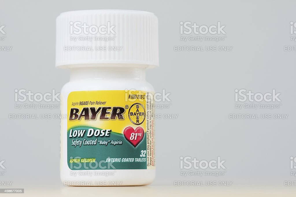 Bottle of Bayer Low Dose Aspirin stock photo