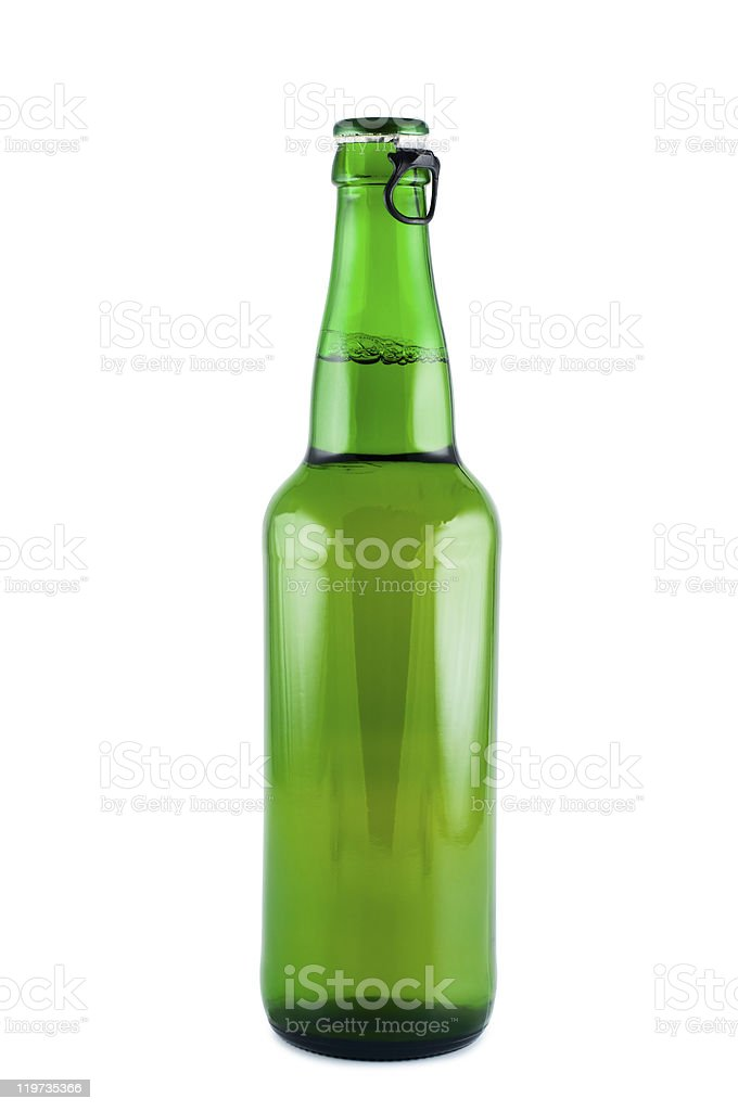 Bottle of beer a picture in studio  isolated on white. stock photo