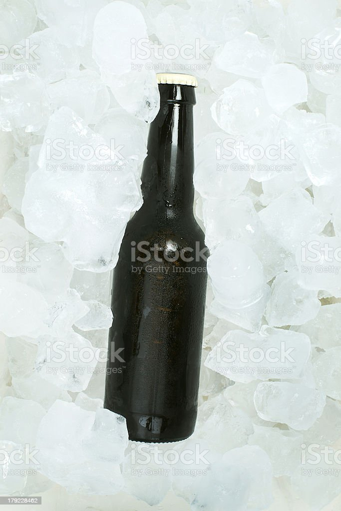Bottle of beer and ice cubes royalty-free stock photo