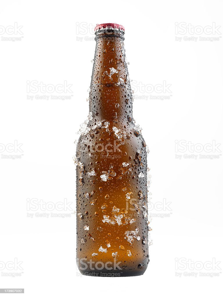 Bottle Of Beer Covered in Ice stock photo