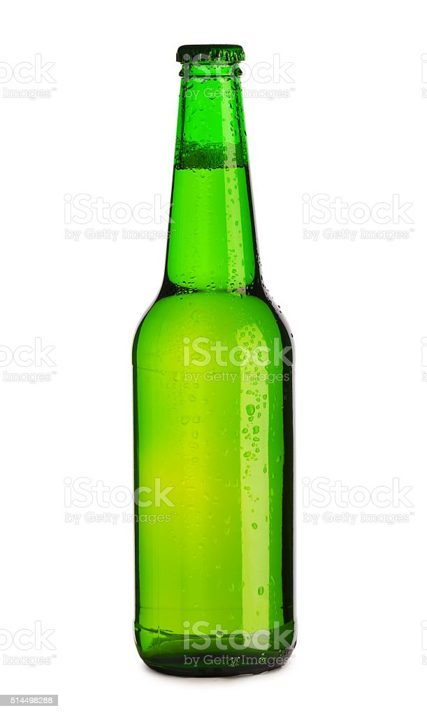 bottle of beer dropped stock photo