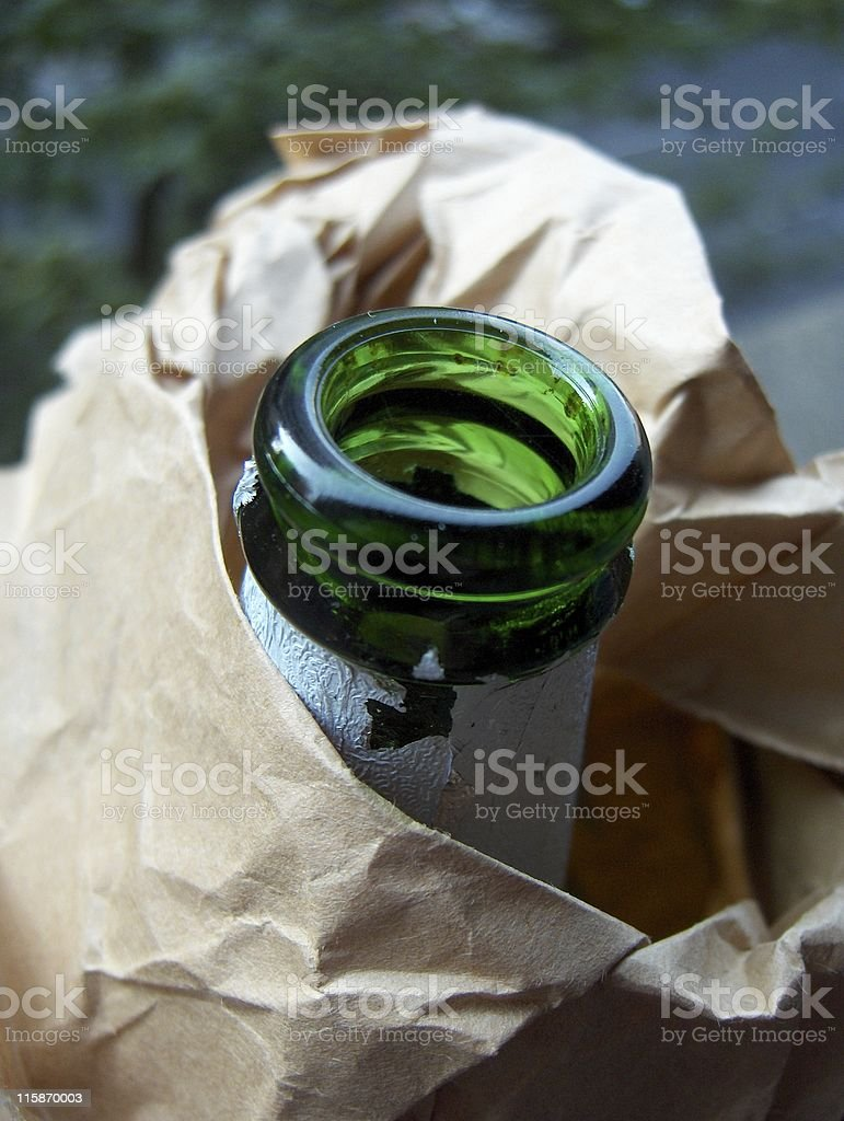 Bottle of Beer in a Brown Bag royalty-free stock photo