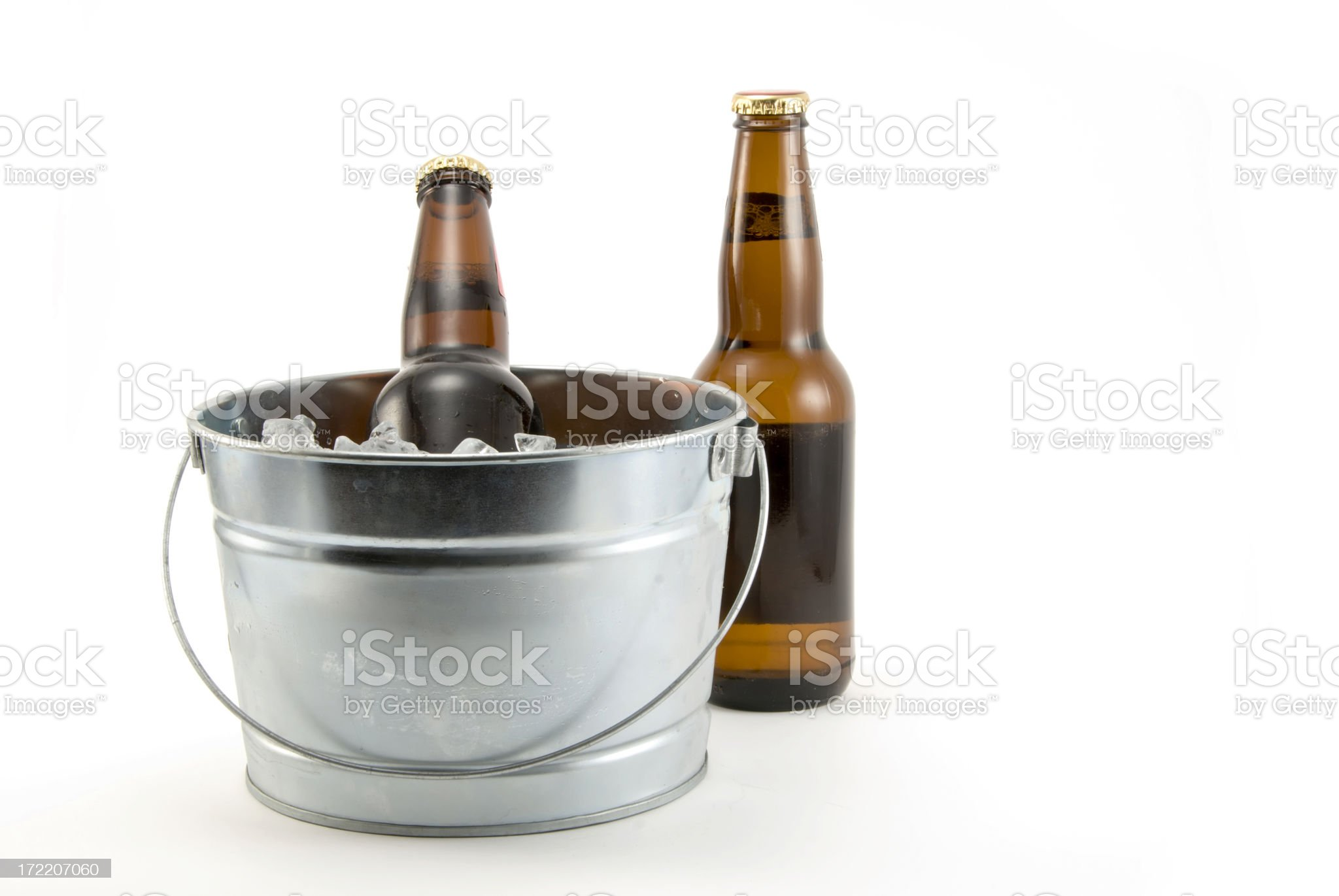 bottle of beer on ice royalty-free stock photo