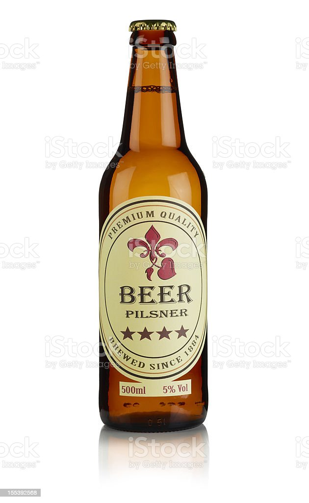 Bottle of Beer with custom label and clipping path stock photo