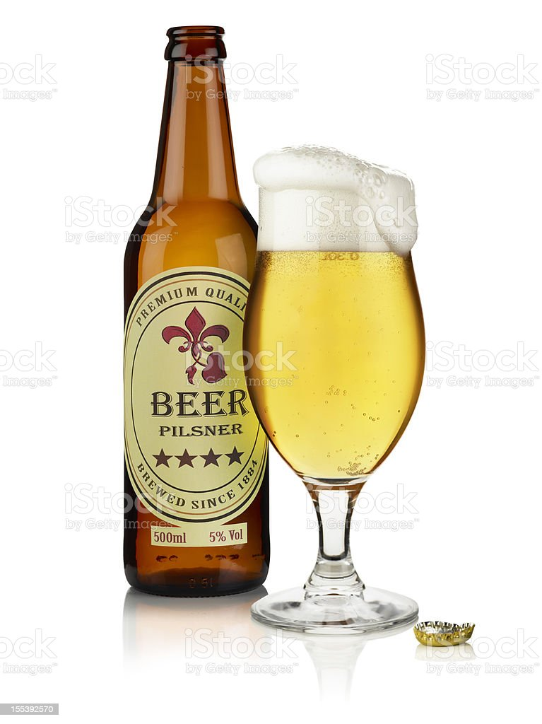 Bottle of Beer with custom label and  glass stock photo