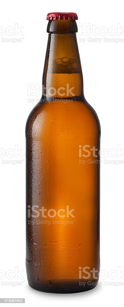 Bottle of beer with drops isolated on white background stock photo
