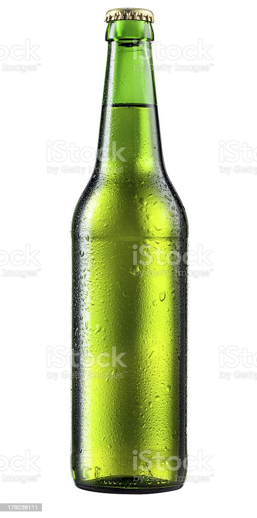 Bottle of beer with drops stock photo