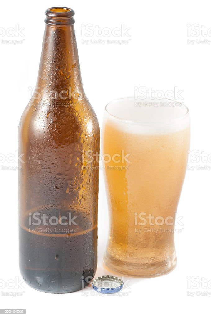 bottle of beer with glass vector art illustration