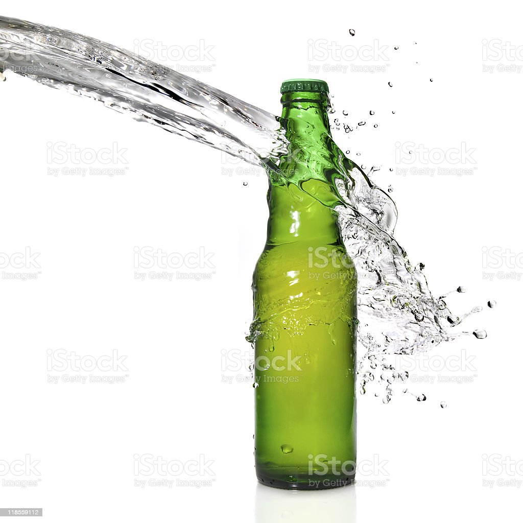 Bottle of beer with water splash royalty-free stock photo