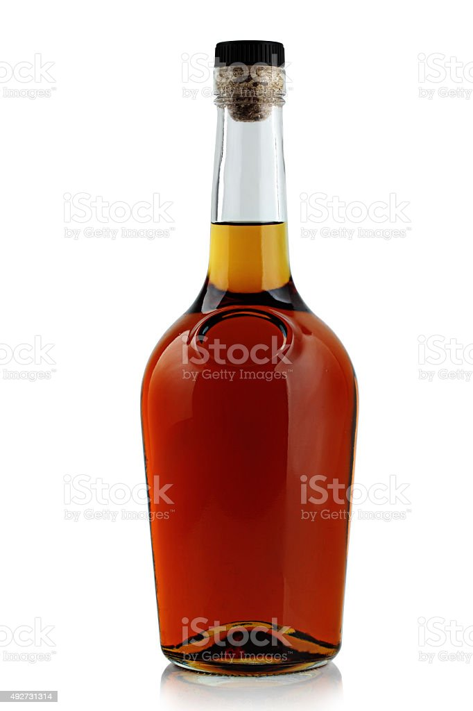 bottle of brandy stock photo