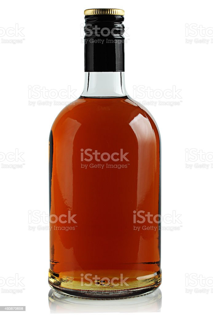 bottle of brandy stock photo