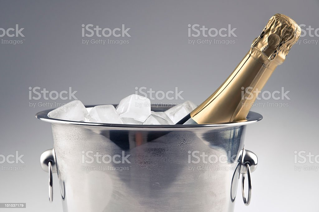 Bottle of champagne and ice bucket royalty-free stock photo
