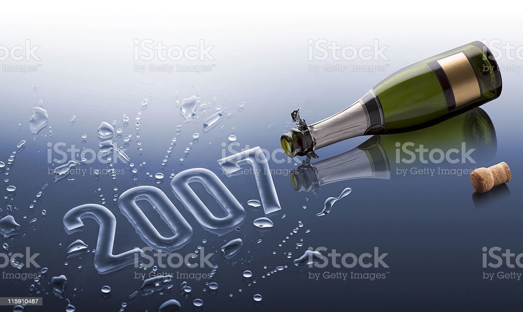 Bottle of champagne happy new year 2007 royalty-free stock photo