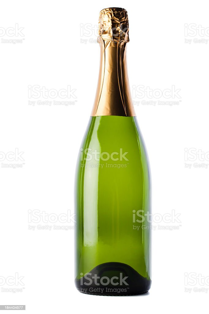 Bottle of champagne on white background  stock photo