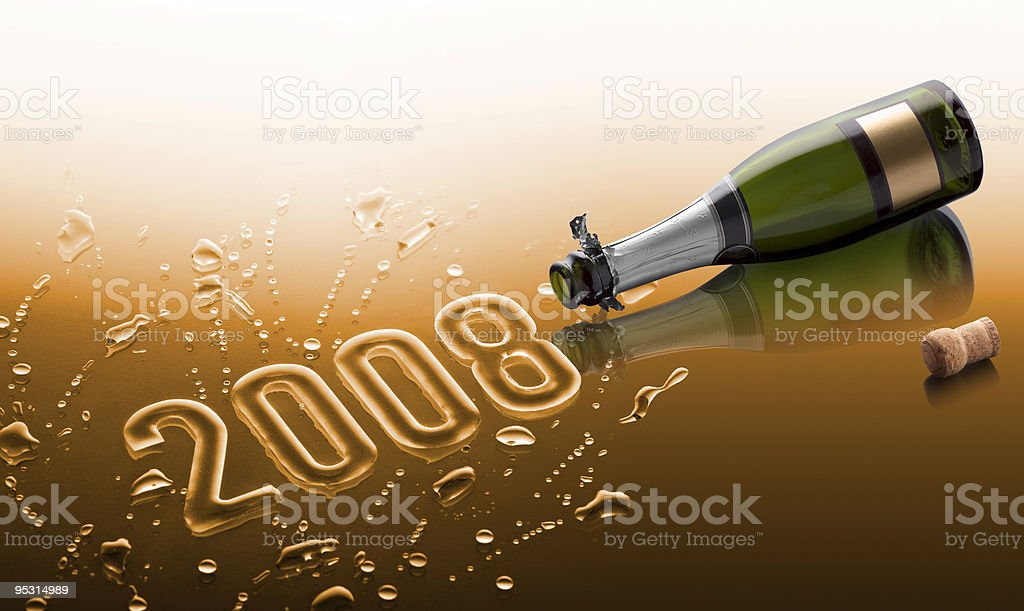 Bottle of champagne saying Happy new year 2008 royalty-free stock photo