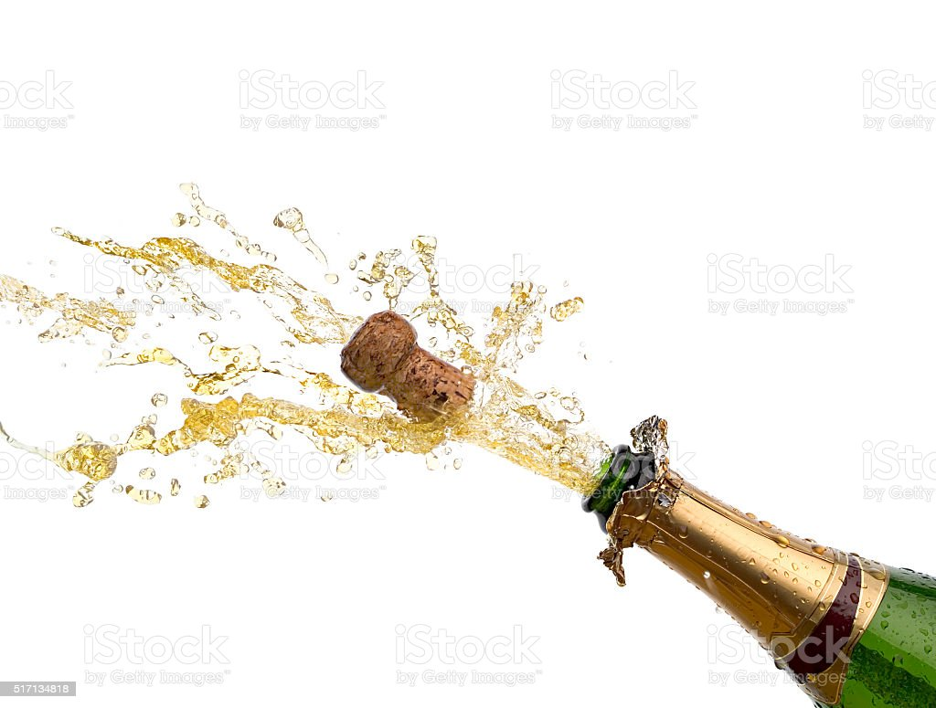 bottle of champagne with splash stock photo