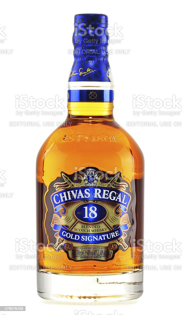 Bottle of Chivas Regal 18 Gold Signature isolated on white stock photo