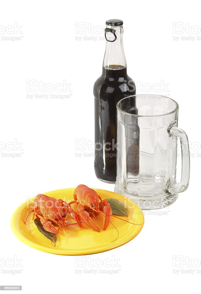 Bottle of dark beer with crawfish royalty-free stock photo