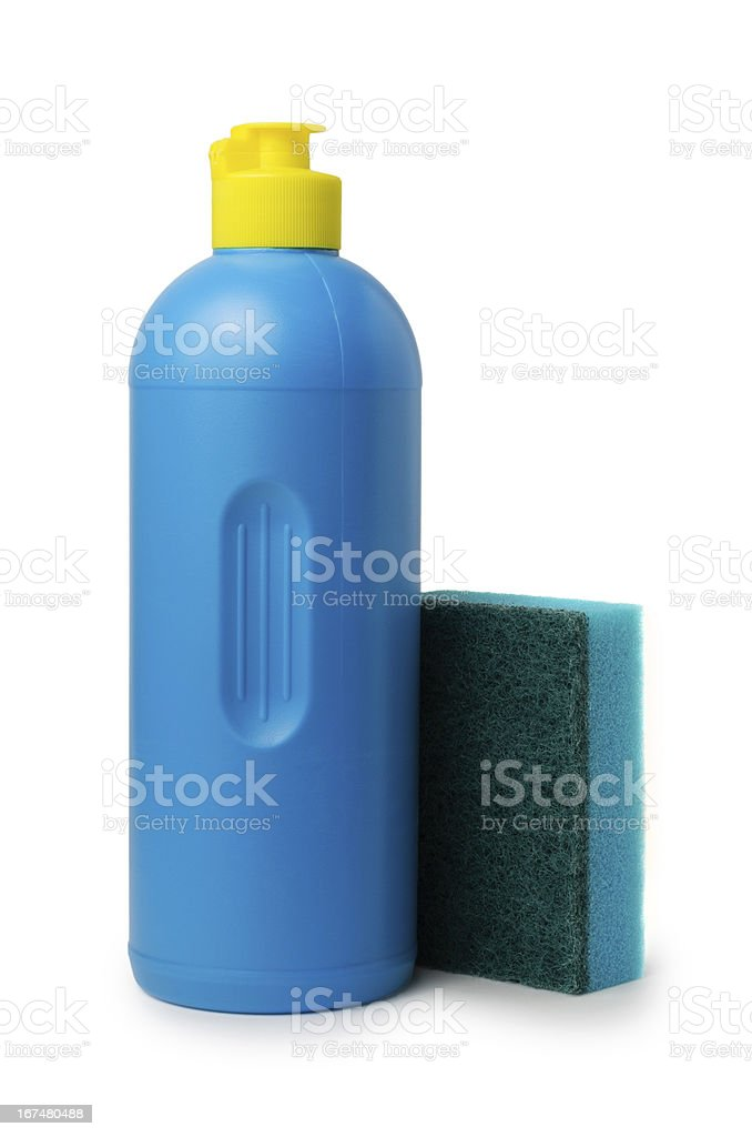 Bottle of detergent and kitchen sponge royalty-free stock photo