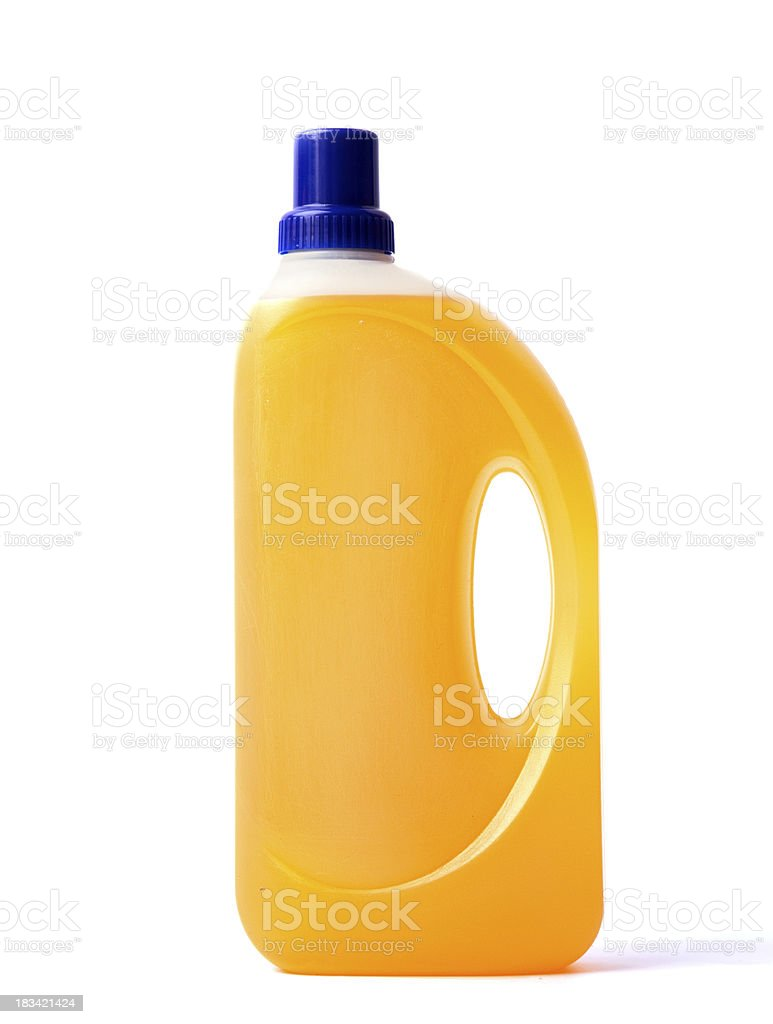 Bottle of detergent on a white background. stock photo