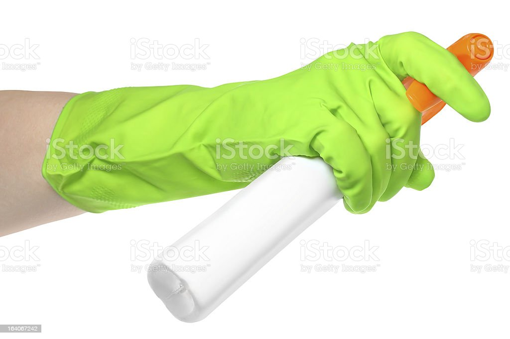 Bottle of detergentr in a hand royalty-free stock photo