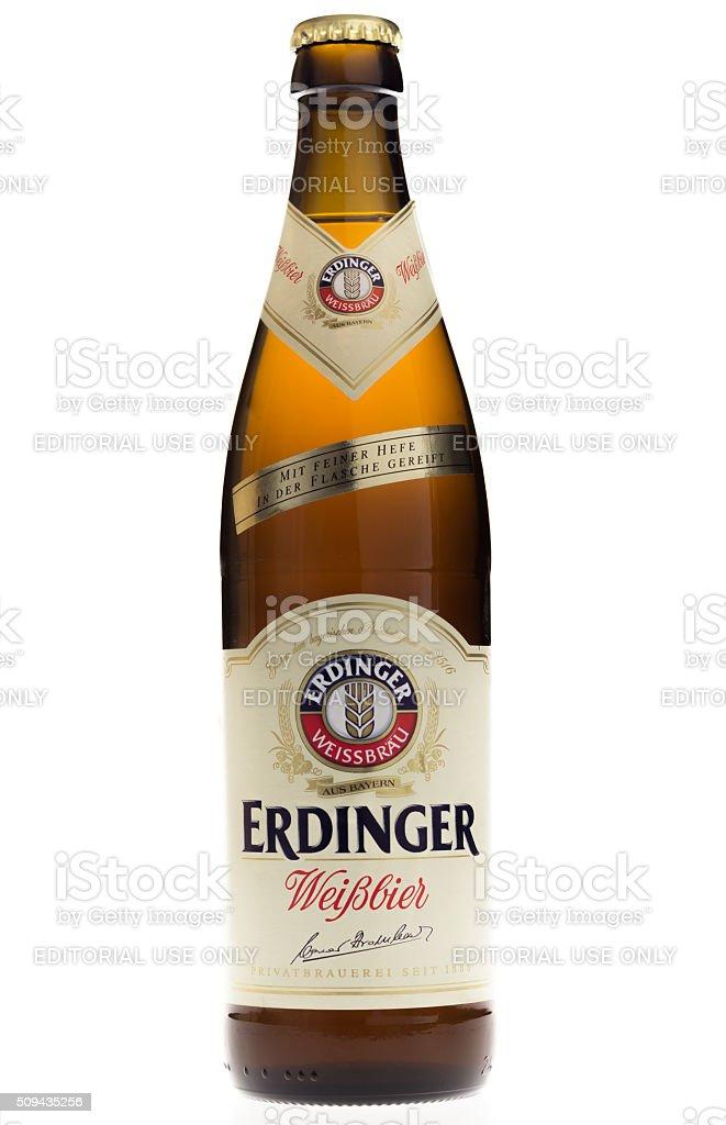 Bottle of Erdinger wheat beer on white background stock photo