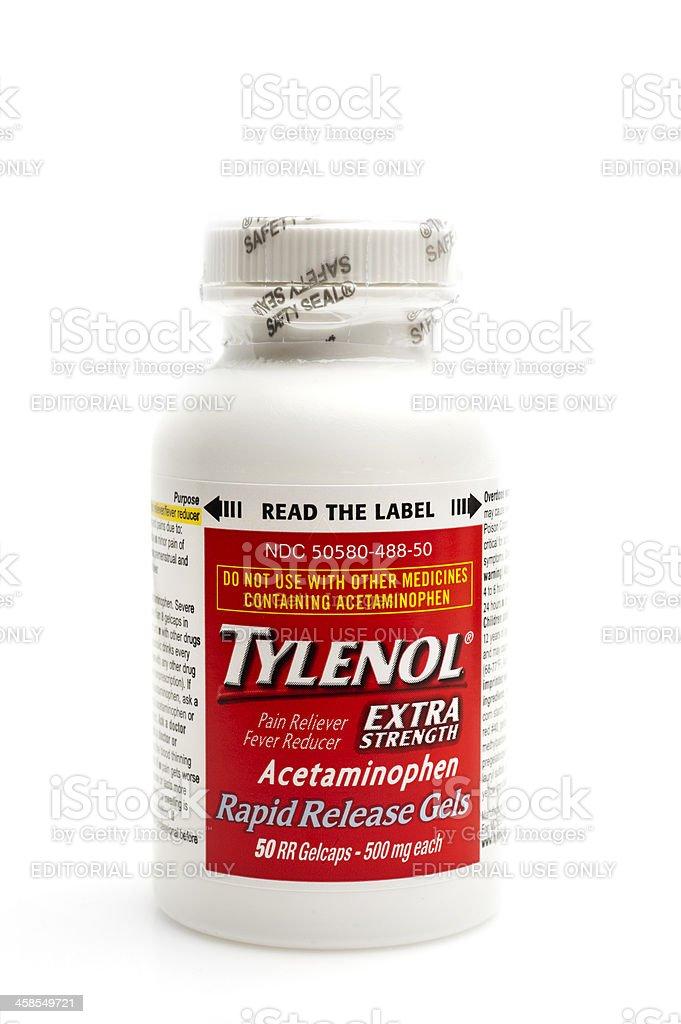 Bottle of Extra Strength Tylenol stock photo