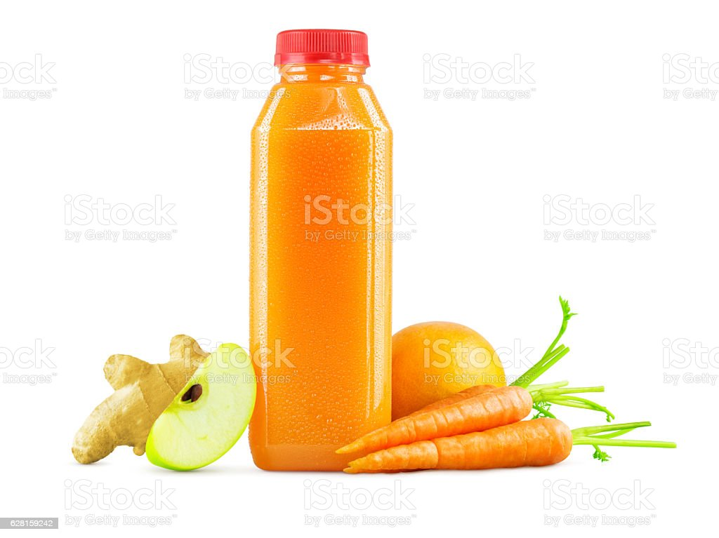Bottle of Freshly Squeezed Carrot, Apple, Orange and Ginger Juice stock photo