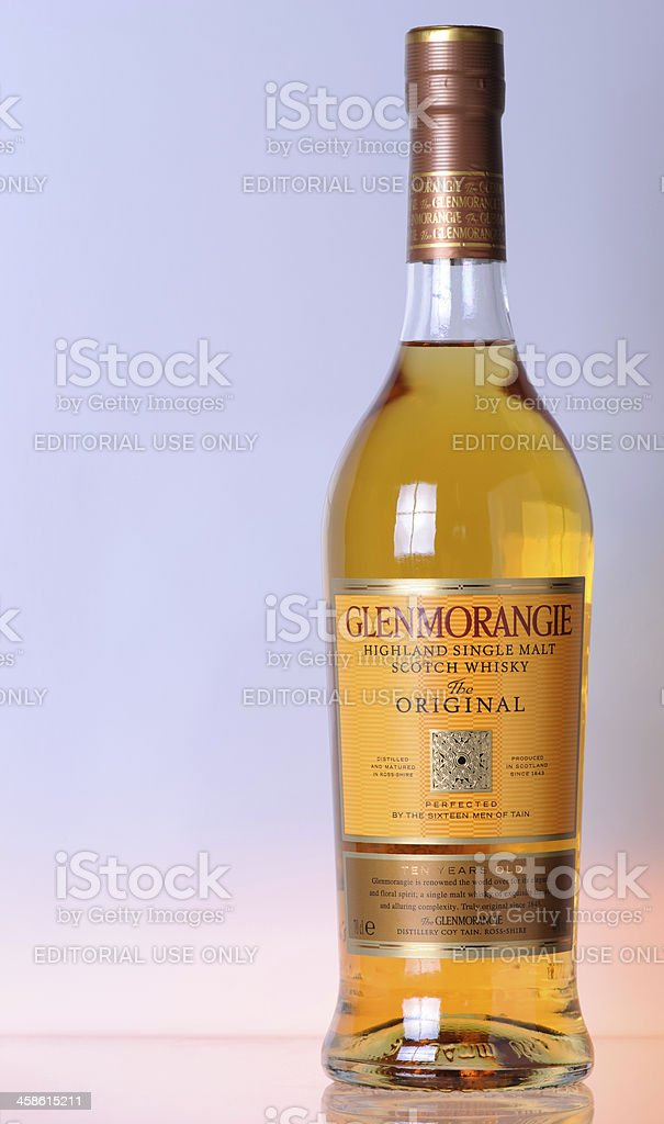 Bottle of Glenmorangie on Coloured Background stock photo