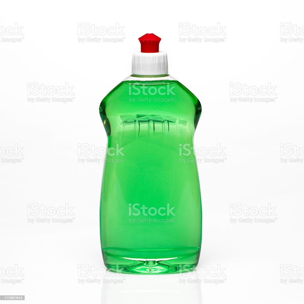A bottle of green dishwashing detergent stock photo