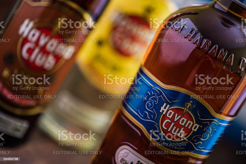 Bottle of Havana Club rum. stock photo