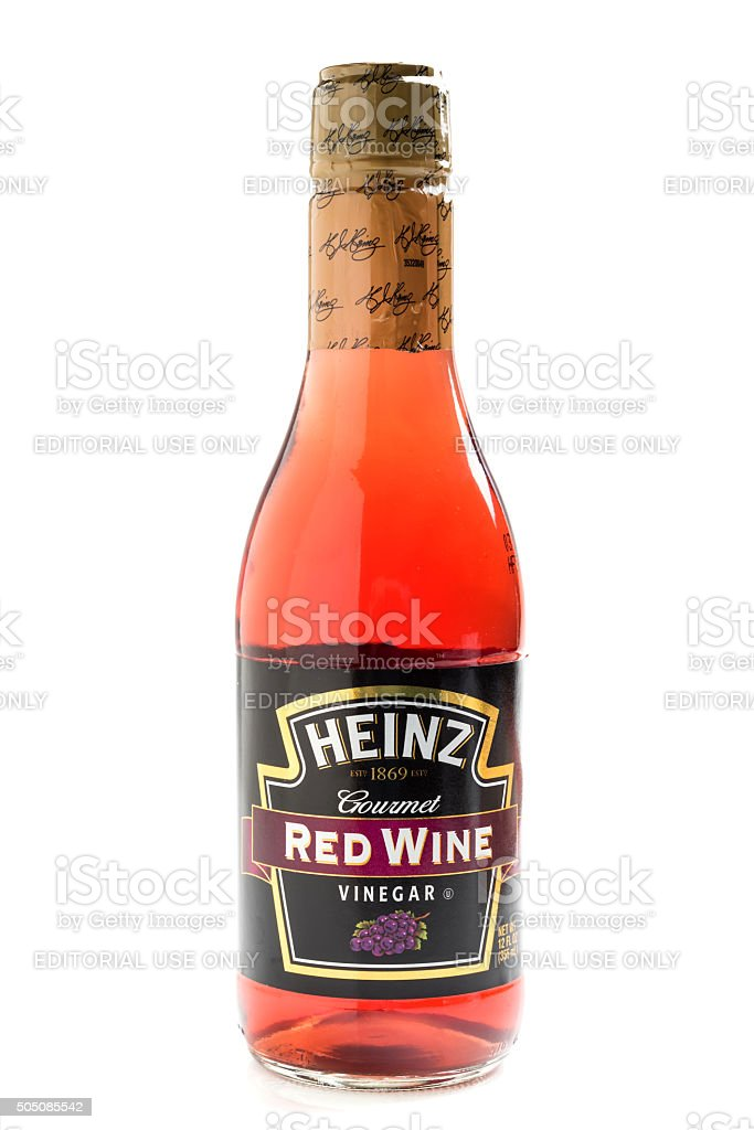 Bottle of Heinz brand Red Wine Vinegar stock photo