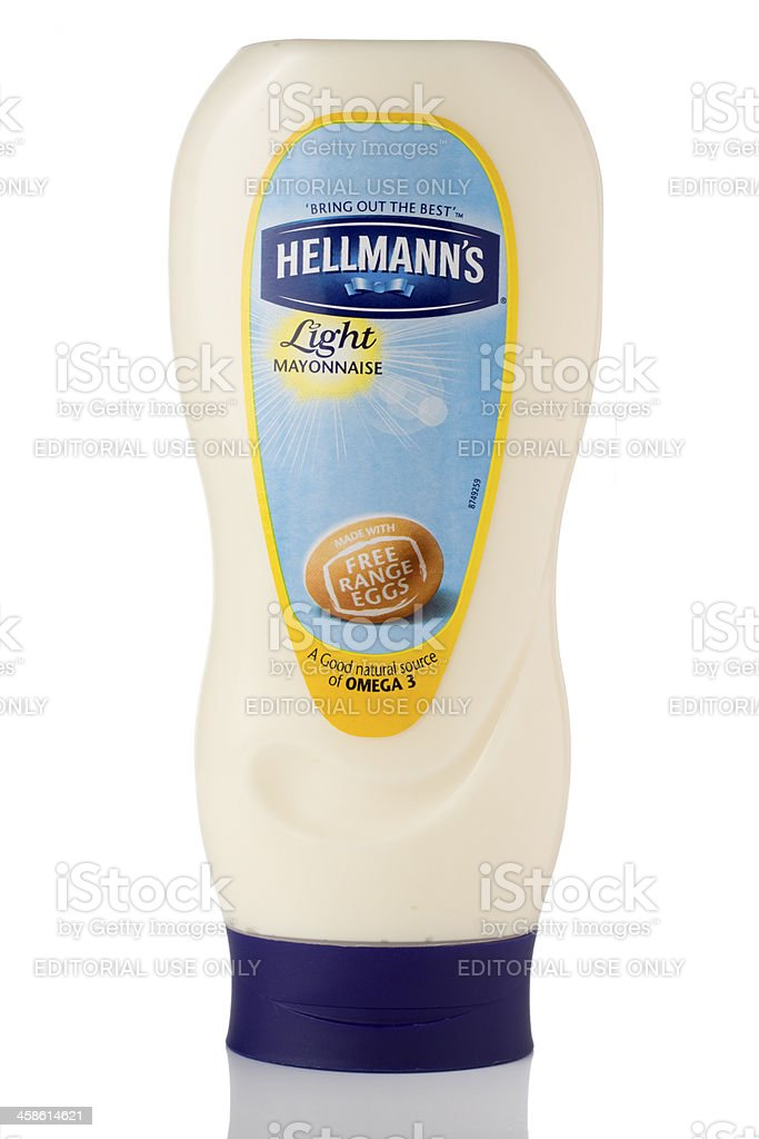 Bottle of Hellmann's light mayonnaise on a white background stock photo