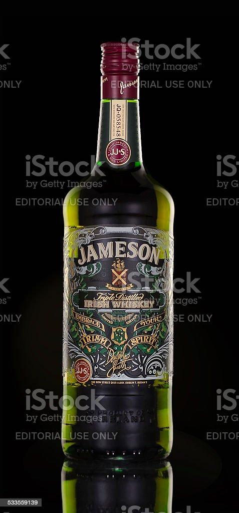 Bottle of Jameson Whiskey Triple Distilled stock photo