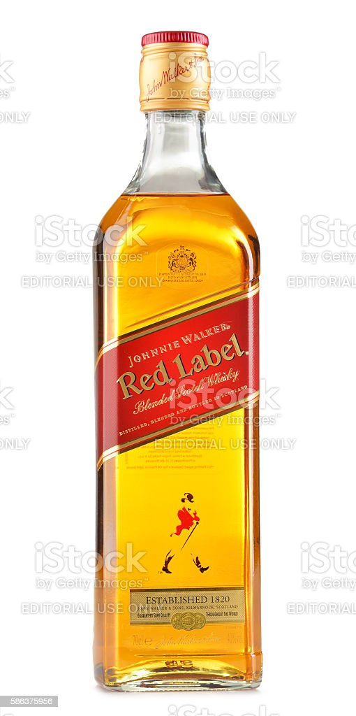 Bottle of Johnnie Walker Scotch whisky isolated on white stock photo