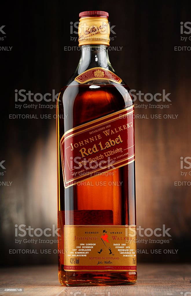 Bottle of Johnnie Walker Scotch whisky stock photo