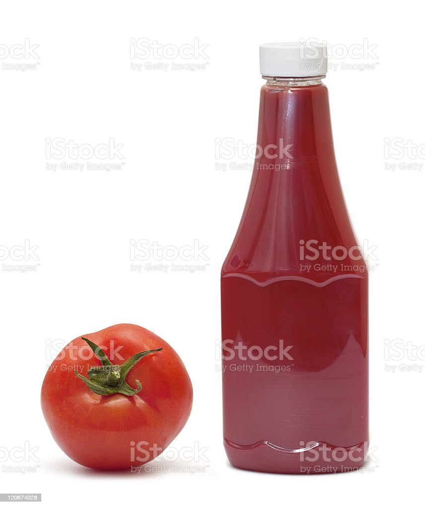 bottle of ketchup and tomato stock photo