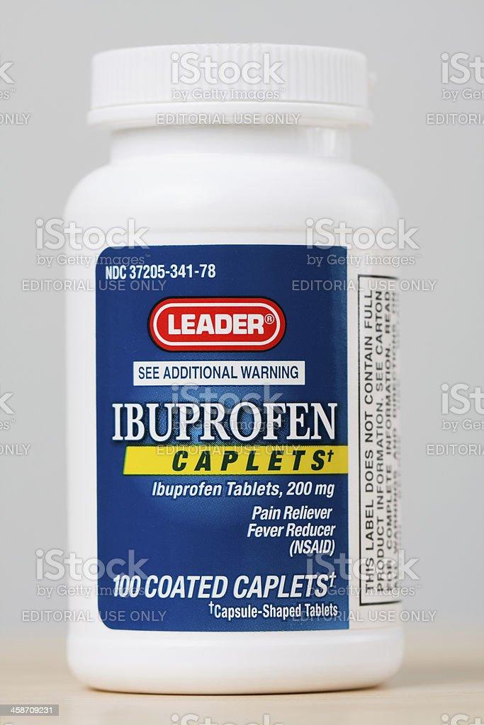 Bottle of Leader Brand Ibuprofen stock photo
