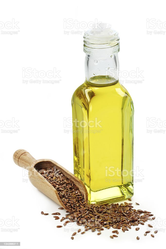 Bottle of Linseed oil stock photo
