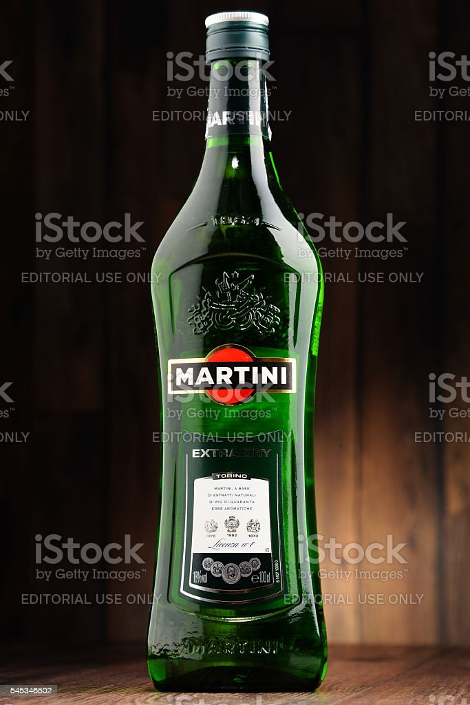 Bottle of Martini Dry stock photo