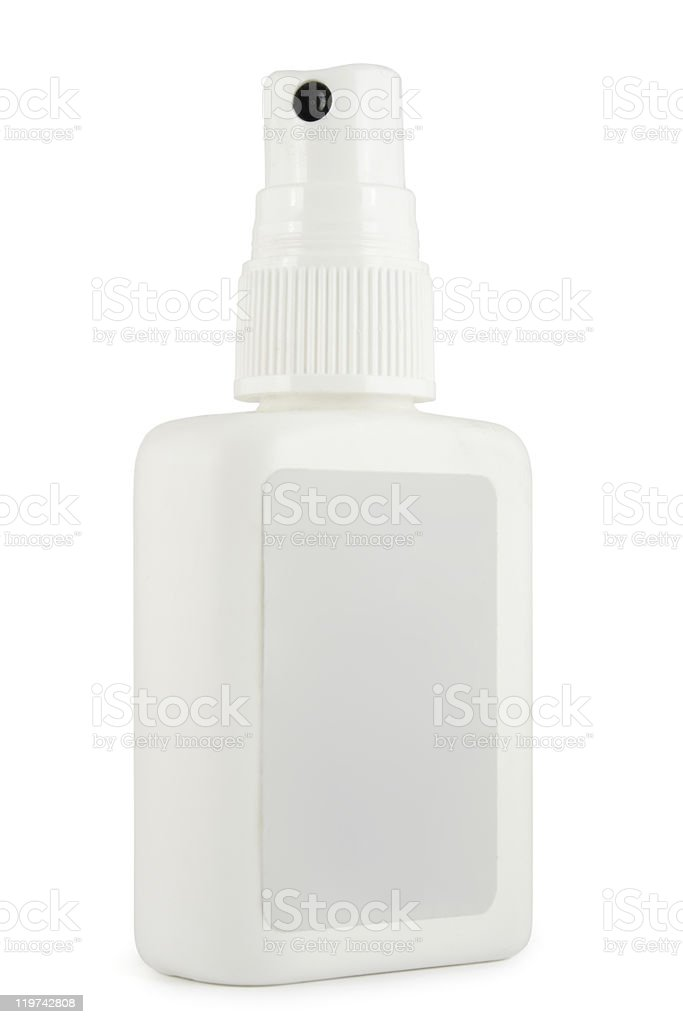 Bottle of medication with spray cap stock photo