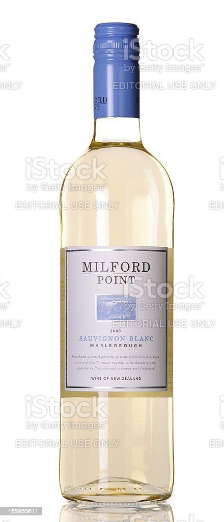Bottle of Milford Point Sauvignon Blanc stock photo