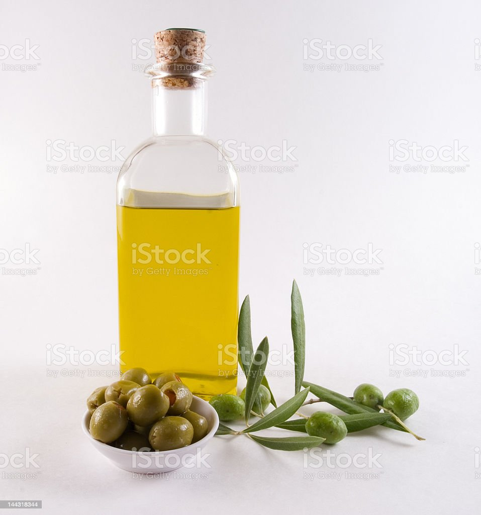 bottle of olive oil and olives royalty-free stock photo
