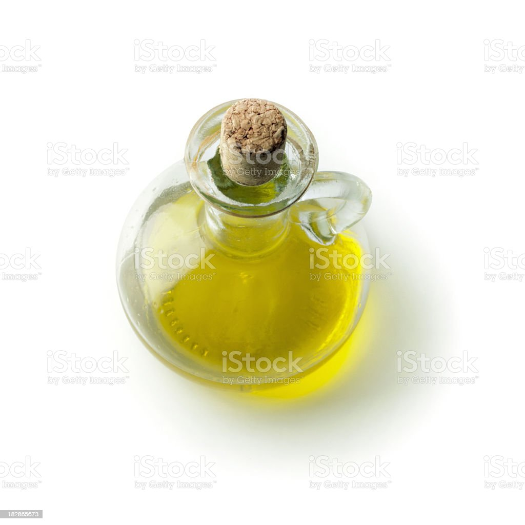Bottle of olive oil with a cork stopper stock photo