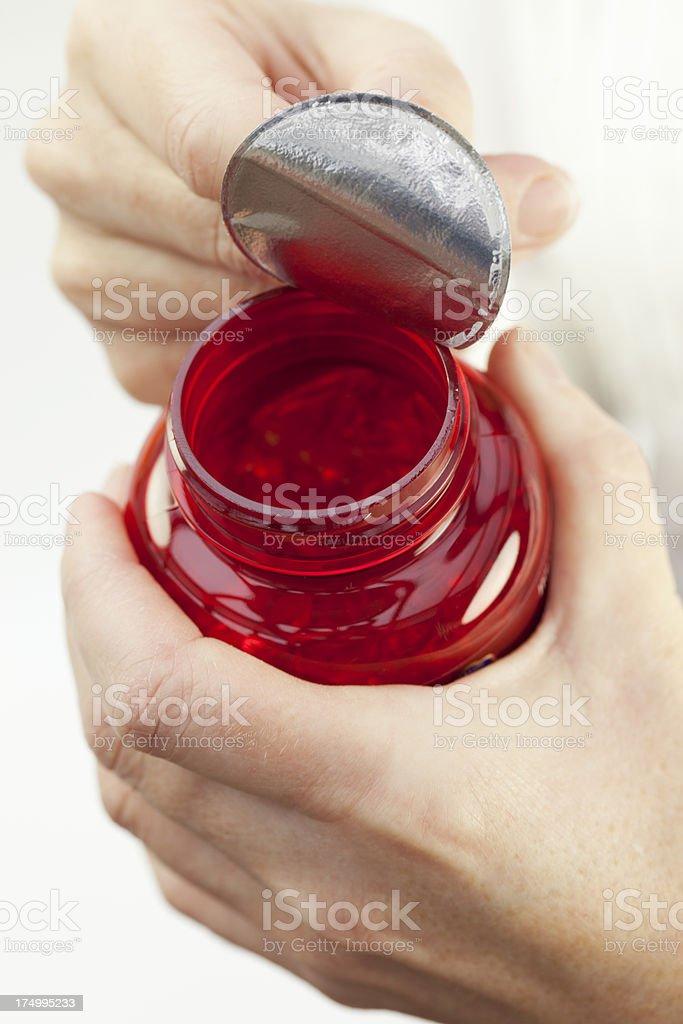 Bottle of Omega Fish Oil Capsules royalty-free stock photo