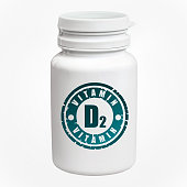 Bottle of pills with vitamin D2