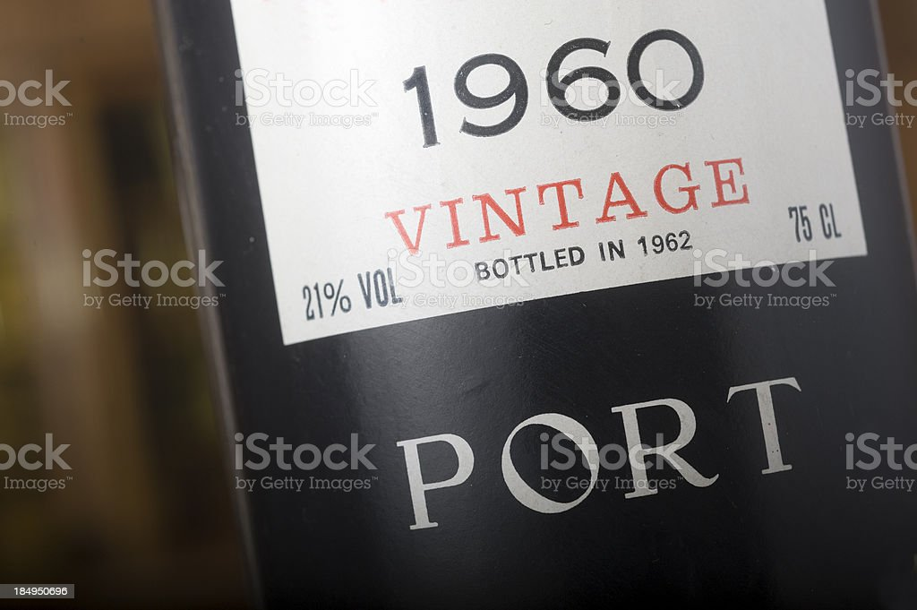 Bottle of Port Wine from 1960 stock photo